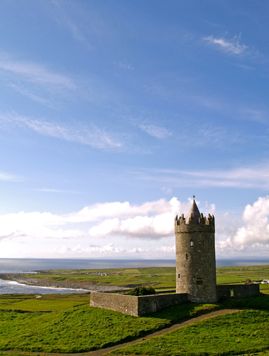 Doonagore Castle overlooking the coastal town of Doolin in County Clare, Ireland.