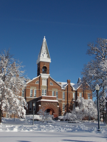 Drake University Main Hall after a snow storm.