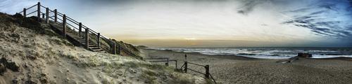 Hengistbury Head; panorama; Southbourne; Dorset; England; seaside; sea; beach; coast; sand; water; landscape; steps; coastline; sky; sunrise; sunset; nature; vacation; holiday; travel destinations; outdoors; scenic; surf; wave; English Channel; breakers; wave breakers