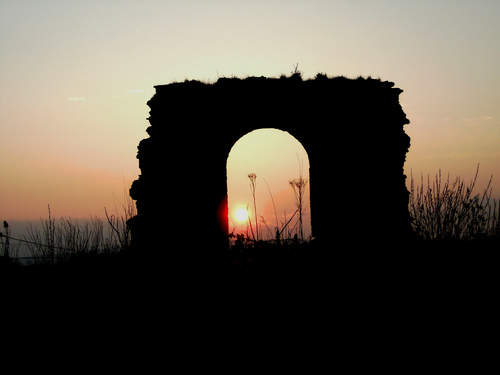 A sunset at the old church ruins at Rathkieran, Mooncoin, Co. Kilkenny, Ireland.