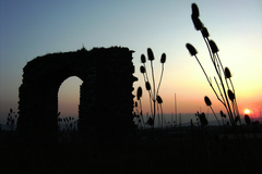 A sunset at the old church ruins at Rathkieran, Mooncoin, Co. Kilkenny, Ireland.