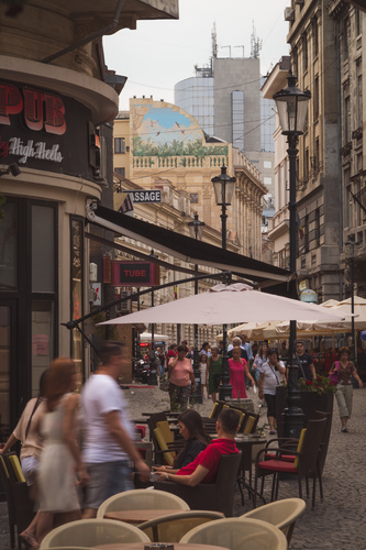 View along Lipscani Street in Bucharest, showing a few of the cafes and pubs there.