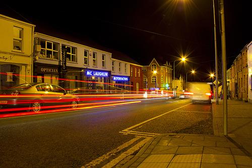 Car light trails in Buncrana