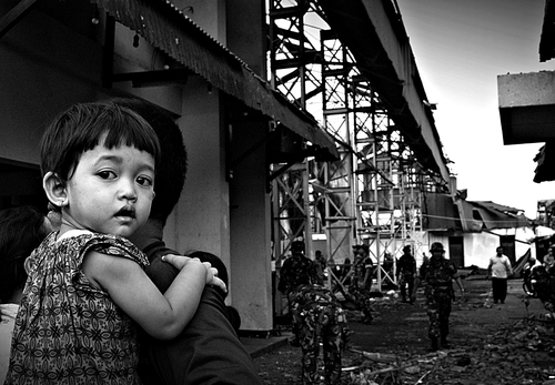 kids expression after tornado -Yogyakarta, INDONESIA