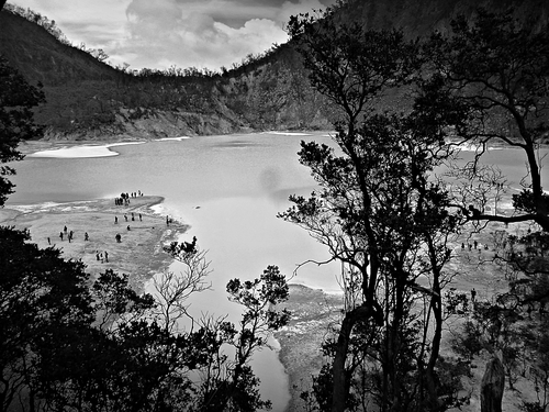 beautiful scene from crater Kawah Putih in ciwedey, bandung, west java