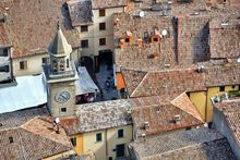 Borgo Maggiore's rooftops as seen from the City of San Marino.
