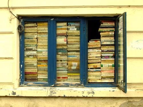 A bookshop window in Budapest