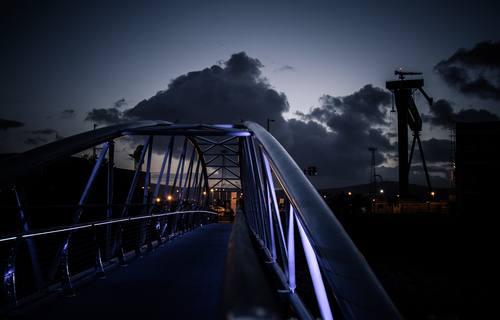 Across the Sam Thompson Bridge at dusk