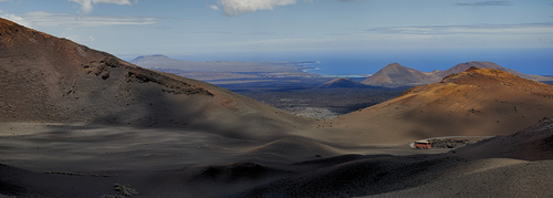 Panoramic view of The fire Mountain vocano's in Timanfaya National Park, Lanzarote