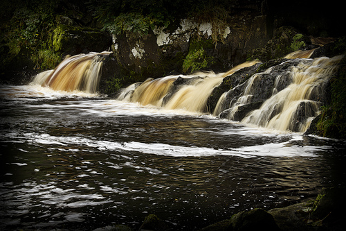 Water cascading on the Mill river in Buncrana.