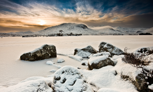 Sunrise on Ranoch Mor Highlands of Scotland.