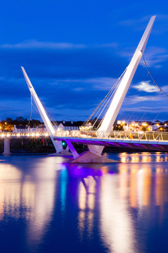 Opened in 2011, the Peace Bridge crosses the River Foyle, the only footbridge crossing the river in Derry/Londonderry.