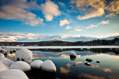 Loch Morlich in the Cairngorm Mountains, Highlands of Scotland.