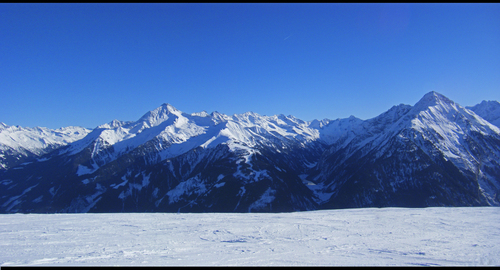 A photo taken on a Penken piste run in the Zillertal regio of the Alps.