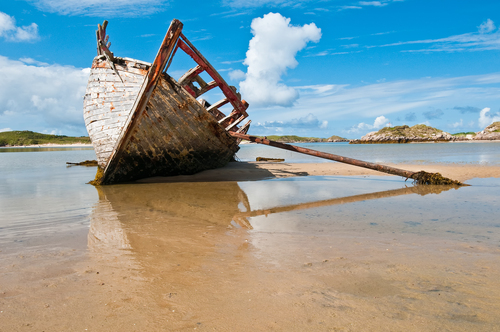 This boat lies on the strand at Bunbeg, Donegal since the mid-70's.  
