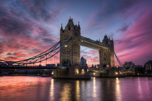 Sunset over Tower Bridge in London, England.