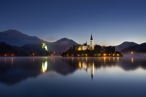 Just before sunrise at Lake Bled in Slovenia.