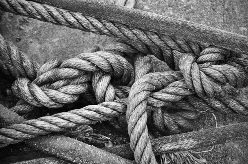 Mooring ropes on Howth's Middle Pier show the variety of knots used by the local fishermen to tether their boats.