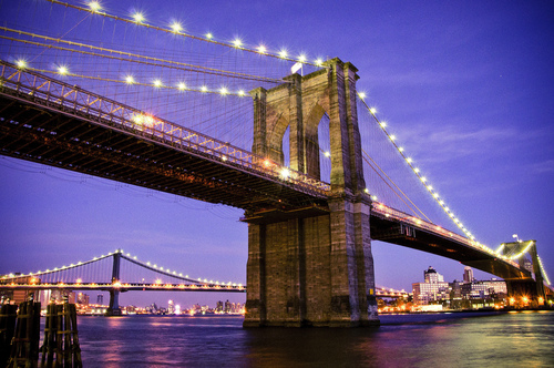 A view of Brooklyn Bridge from manhattan's south seaport promenade.
