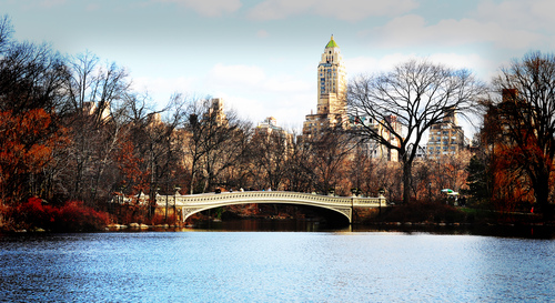This romantic gateway to Central Park's Lake is a favorite for couples to drift through, while scores of cyclists and joggers pass overhead.  The Bow Bridge made of iron spans more than 60 feet, connecting Ramble and Cherry Hill.