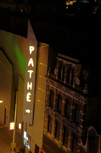 Night Shot of Pathe Cinema in Amsterdam