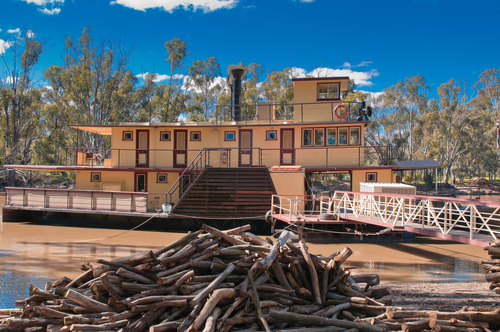 The historic steamboat PS Emmylou at her moorings on the Murray River in the outback town of Echuca Australia