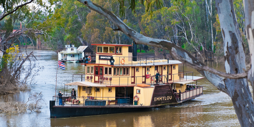 The PS Emmylou makes a fine sight when viewed through Red River Gums on the banks of the Murray River in Australia