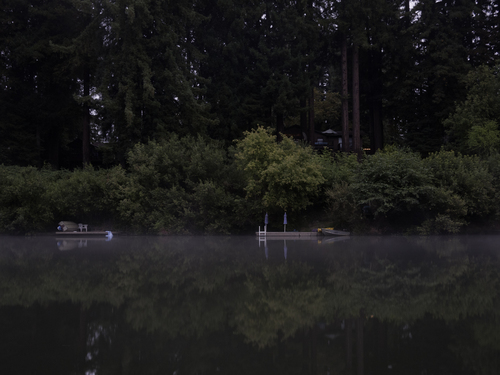 The Russian River's glassy surface before sunrise.  Summer 2011.