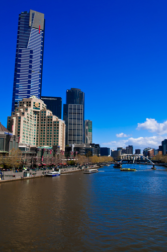The Yarra River in Melbourne is the central feature of this vertical image made from one of the most popular viewpoints in the city. The skyline forms a dramatic backdrop for this lovely river.