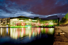 View of the Grand Canal Theatre by night, Dublin, Ireland