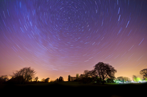 Long exposure star trail shot,  on the great lawn in Lough Key Forest Park, Boyle