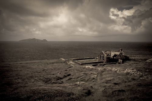 The remains of the set location for the school used in Ryans Daughter (1969/70) on the coastline near Dunquin on the Dingle Penninsula Kerry